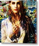 Comic Girl Metal Print