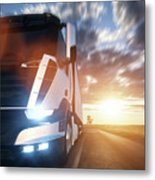 Commercial Cargo Delivery Truck With Trailer Driving On Highway At Sunset. Metal Print