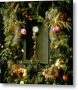 Communion Cup And Host Encircled With A Garland Of Fruit Metal Print by Jan Davidsz de  Heem
