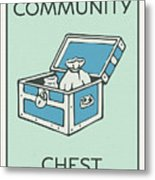 Community Chest Vintage Monopoly Board Game Theme Card Metal Print