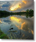 Community Lake #8 Sunset Metal Print