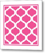 Compact Marrakesh With Border In French Pink Metal Print