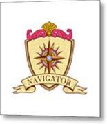 Compass Navigator Coat Of Arms Crest Retro Metal Print