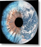 Composite Image Of The Earth And A Human Metal Print