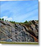 Composition of Car and Rock Seam  Metal Print