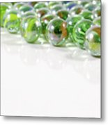 Composition With Green Marbles On White Background Metal Print