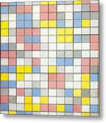 Composition With Grid Ix Metal Print