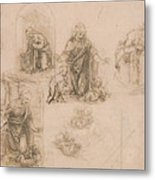 Compositional Sketches For The Virgin Adoring The Christ Child Metal Print