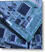 Computer Boards And Chips Lie In A Pile Metal Print