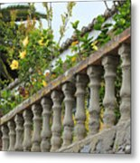 Concrete Banister And Plants Metal Print