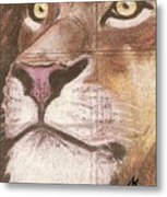 Concrete Lion Metal Print