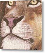Concrete Lion Metal Print