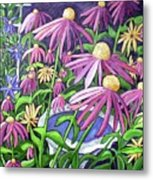 Coneflowers In Gentle Wind Metal Print
