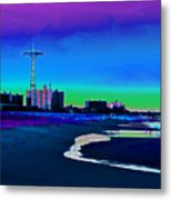 Coney Island Parachute Jump And Beach Metal Print