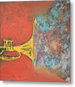Confetti Horn On Orange Metal Print