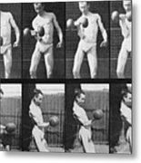 Consecutive Images Of Man Lifting Metal Print by Everett