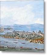 Constantinople Ships Metal Print