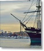Uss Constellation And Domino Sugars - Sloop Of War Warship In Baltimore's Inner Harbor - Us Navy Metal Print