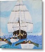 Constitution Eluding British Fleet March 1812 Metal Print
