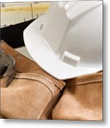 Construction Contractor Tools With Blue Print Drawings In Backgr Metal Print