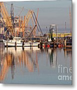 Construction Of Oil Platform With Boats Metal Print