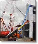 Construction Study In Grey Metal Print