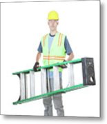 Construction Worker Carrying A Ladder Metal Print