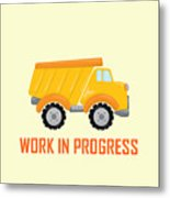 Construction Zone - Dump Truck Work In Progress Gifts - Yellow Background Metal Print
