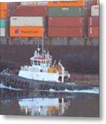 Container Ship And Tug Metal Print