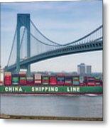 Container Ship Passing The Verrazano Bridge Metal Print