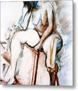Contemplation - Nude On A Stool Metal Print