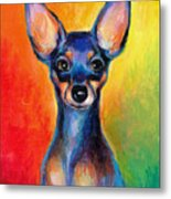 Contemporary Colorful Chihuahua Chiuaua Painting Metal Print