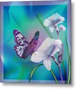 Contemporary Painting Of A Dancing Butterfly  Metal Print