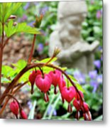 Content Gnome With Bleeding Hearts Metal Print