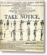 Continental Army Recruitment Broadside Metal Print