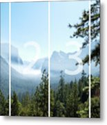 Controlled Burn Of Yosemite Panoramic Map Metal Print