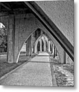 Conway River Walk Black And White Metal Print