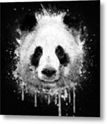 Cool Abstract Graffiti Watercolor Panda Portrait In Black And White  Metal Print