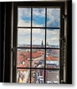 Copenhagen Cityscape And Roofs Behind A Window Metal Print