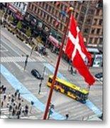 Copenhagen Downtown Traffic Metal Print