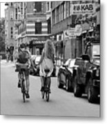 Copenhagen Lovers On Bicycles Bw Metal Print