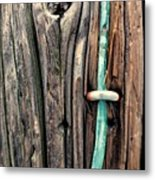 Copper Ground Wire And Knothole On Utility Pole Metal Print