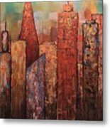 Copper Points, Cityscape Painting Metal Print