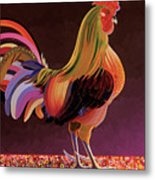 Copper Rooster Metal Print