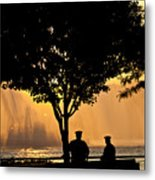 Cops Watch A Fireboat On The Hudson River Metal Print