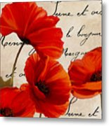 Coquelicots Rouge I Metal Print
