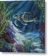 Coral Reef Turtle Metal Print