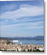 Corfu Town And Port With Cruiser Cityscape Metal Print