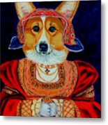 Corgi Queen Metal Print by Lyn Cook