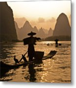 Cormorant Fisherman At Sunset Metal Print